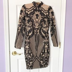 Black and nude Sequins Dress